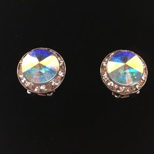 Swarovski Crystal Iridescent Jeweled Clip Earrings